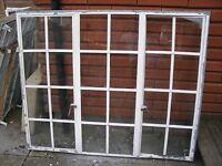 ANTIQUE WINDOWS- NL8 - RARE VICTORIA SOLID CRITTALL TRIPLE WINDOW- 149 x 122CMS