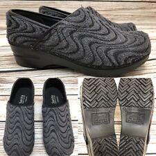 Womens SANITA Vegan Black & Gray Swirl Fabric Clogs Shoes SIZE 37 US 6.5