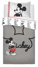 New Mickey Mouse Jersey Single Duvet Quilt Cover Grey Bedding Set Kids Boys Gift