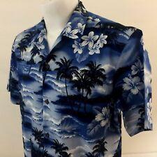 104643d03 RJC ограниченный мужская гавайская рубашка большая голубая цветочная 100%  хлопок, сделано в США