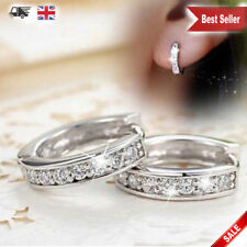Charm Crystal 925 Sterling Silver Stud Hoop Earrings Fashion Women jewellery UK