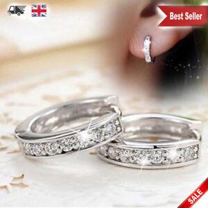 Charm Crystal 925 Sterling Silver Stud Hoop Earrings Fashion Women jewellery UK