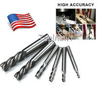 "6Pc 1/8 - 5/8"" HSS CNC 4 Flute End Mill Cutter Drill Bit Milling Tool Set in US"