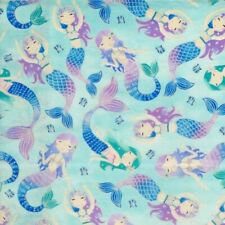 Nautical Fabric - Glitter Mermaid on Aqua Blue - Timeless Treasures YARD