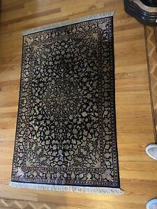 Persian Fully Silk Rug  39x63 Inch Black and Tan