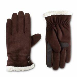 Isotoner Women's SmartDri Touchscreen SherpaSoft Lined Gloves Brown Size S/M