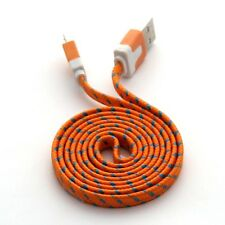 Orange Long Charger USB Cable for iPhone 6S 6 7 8 X 5S 5C Braided Extension Lead