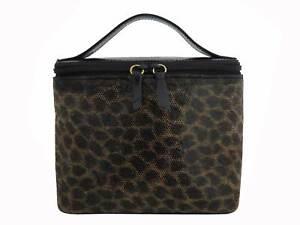 Auth LOEWE Leopard Vanity Handbag Black/Brown/Goldtone Patent Leather - e48700f
