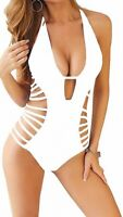 Carprinass Women's Swimwear White Size Medium M Strappy Monokini $35- #149