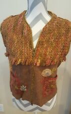TRICOT CHIC WOOL SILK VEST beautique Floral Made in Italy sz 50 US 18 Small