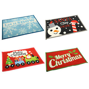 Christmas Welcome Floor Entrace Door Mats Xmas Non Slip Indoor Doormat Rugs Mat