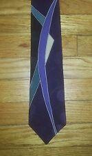 Dk Purple Green Black Ivory NIB New MERVYN'S Abstract Silk Tie! t1829