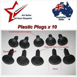 7mm Square Shaft Car Plastic Plug Fastener Rivets x10 guard door trim panel clip