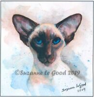 Siamese Cat cat art print large from original painting signed by Suzanne Le Good