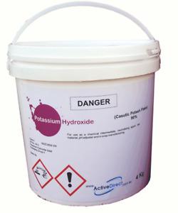 POTASSIUM HYDROXIDE Caustic Potash Flake 4kg Soap Making Degreaser Cleaner KOH