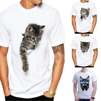 Casual Digital Unisex 3D Sleeve T-Shirt Sport Cat Short Men Women Print Tops Tee