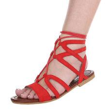 Markenlose Damen-Sandalen & -Badeschuhe im Knöchel-/Fesselriemen-Stil aus Kunstleder für Kleiner Absatz (Kleiner als 3 cm)
