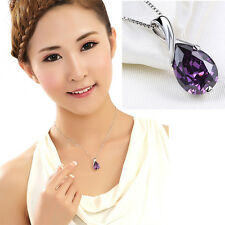 Retro Silver Plated Purple Crystal Pendant Necklace Noble Amethyst Necklaces