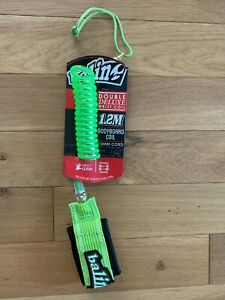 Balin Double Deluxe Coil Leash - 1.2m Green Urethane Bodyboard Coil