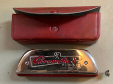 More details for chrometta 8 harmonica 'c' h hohner made in germany chrome + red in case
