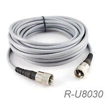 30ft RG-8/U Mini Coax UHF PL-259 Male/Male Grey Coax Cable, R-U8030