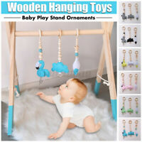 3Pcs Baby Crib Pram Wooden Hanging Toys for Baby Mobile Stand Education Toy