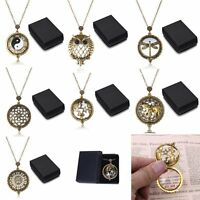 Hot Vintage Chain Magnifying Glass Dragonfly Necklace Pendant A Box Grandma Gift