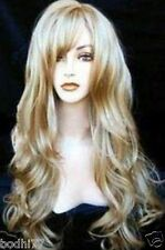 New Fashion blonde Cosplay Party Long Wavy Like Real Human hair wig  + Gift Cap