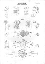 Stampa antica ARMI ARMATURE ELMI Etruschi Romani Britanni Danesi 1848 Old print