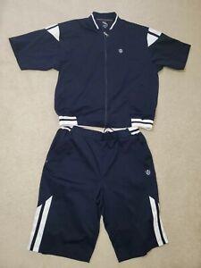 Men's Phat Farm 2 Pc Sweat Suit Full Zip Jacket & Shorts Navy/ White Sz. XXXL
