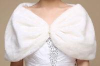 New Ivory Faux Fur Wrap Bridal Bolero Warm Shawl Women's Shrug Stole Jacket