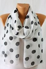 Wear Freedom White Scarf With Black Polka Dot Scarves Shawl Stole Wrap
