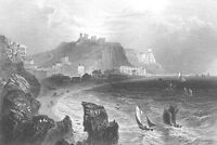 East Sussex, HASTINGS CASTLE SAILBOATS SHIPS IN WAVES ~ 1840 Art Print Engraving