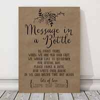 Personalised A4 Wedding Message In A Bottle Guest Book Sign BUY 2 GET 1 FREE (N)