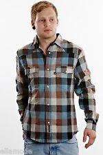 Fenchurch damonson Marrón Negro y Azul Algodón de cuadros camisa