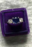 3 Ct Round Diamond & Sapphire Three-Stone Engagement Ring 14k White Gold Finish