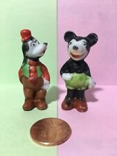 Walt Disney Characters Mickey Mouse and Goofy miniature bisque porcelain figures