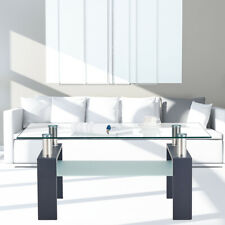 Furniture Rectangle Glass Coffee Table Modern Side Center Tables For Living Room