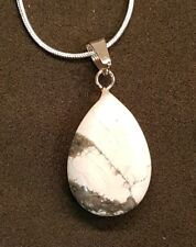 White Turquoise Stone Pendant Sterling Silver Chain Necklace