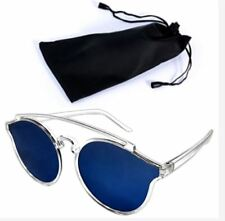 Women farer Style Sunglasses Blue Lens with Pouch