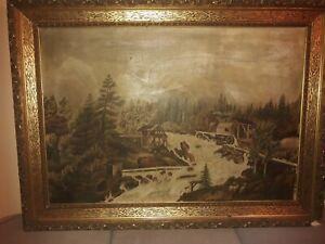 Altes Öl-Gemälde auf Leinwand/ca.120 Jahre alt