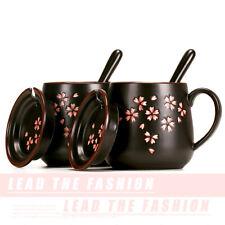 HOT Cherry Blossom Coffee Mug with Lid&Spoon Black Ceramic Tea Milk Cup 13oz NEW