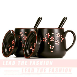 HOT Cherry Blossom Coffee Mug with Lid&Spoon Black Ceramic Tea Milk Cup 13oz NEW