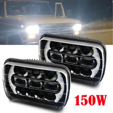 "DOT 12D 150W 7X6"" 5x7"" Hi/Lo DRL LED Headlights For Chevrolet Cherokee XJ"