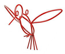 RED HUMMINGBIRD Wrought Iron Hanging Decor Amish Handmade Lawn Wall Garden USA