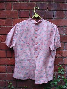 Vintage 50s/60s Ladies Pink Blouse with flower print Medium, c size 14