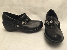 Spring Step Womens Florenca Slip On Clog Shoes Black Leather Size 9.5 M