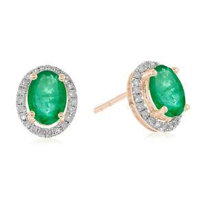 10k Rose Gold Emerald And Diamond Princess Diana Oval Halo Stud Earring