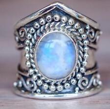 Bohemian 925 Silver Natural Rainbow Moonstone Vintage Handmade Ring Wedding Sz 6