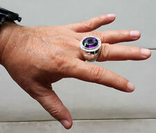 HUGE AMETHYST CROSS CHRISTIAN BISHOP 925 STERLING SILVER MEN'S RING JEWELRY POPE